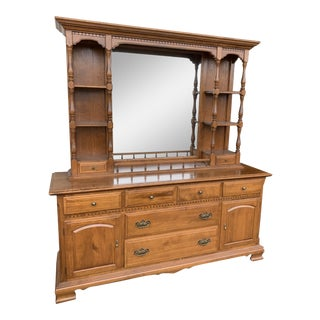 1970s Ethan Allen Heirloom Dresser With Mirrored Hutch For Sale