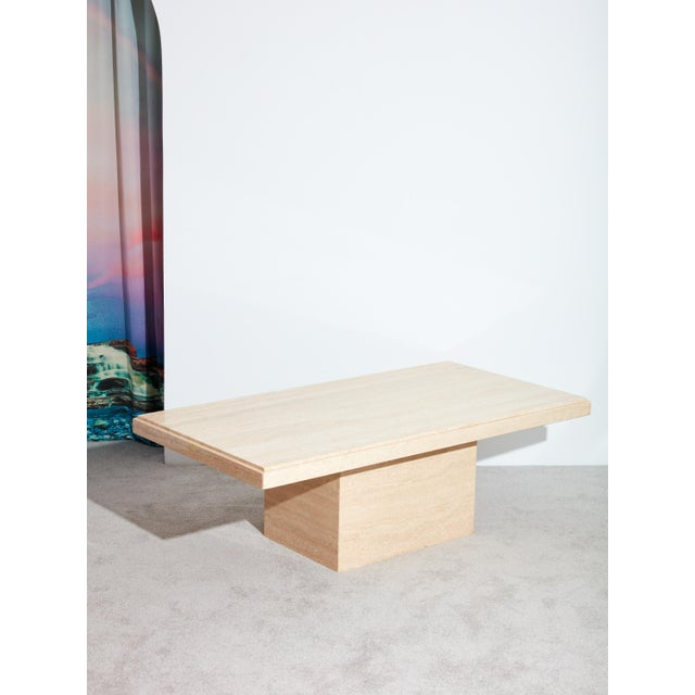 1970s Travertine Coffee Table For Sale - Image 4 of 4