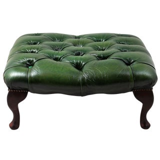 Green Leather English Tufted Queen Anne Footstool