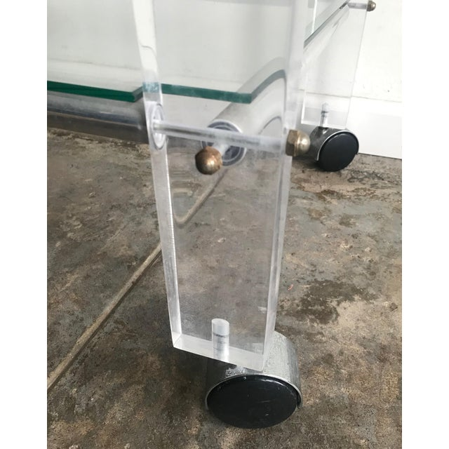 1980s 1980s Hollywood Regency Lucite Bar Cart For Sale - Image 5 of 8