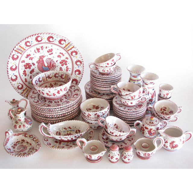 Vintage Pv Italy Orvieto Red Rooster 10 Place Settings Dinnerware Set - 70 Pieces For Sale - Image 13 of 13