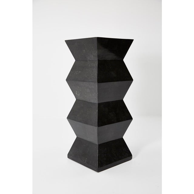 Memphis Group 1990s Vintage Oversized Postmodern Tessellated Black Stone Accordion Pedestal For Sale - Image 4 of 13