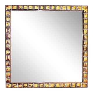 1980's Vintage Copper Tone Square Mirror For Sale