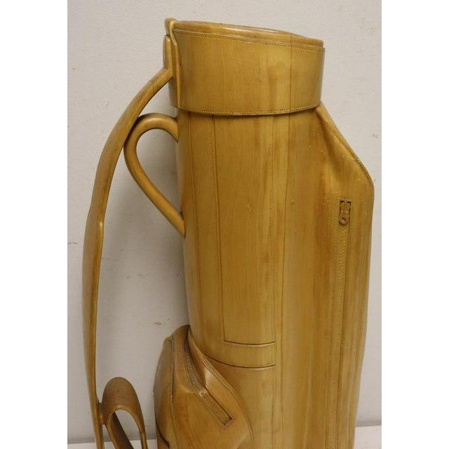 Metal Vintage Carved Wood Decorative Golf Bag For Sale - Image 7 of 11