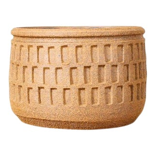 Christian Boehr Ceramic Stoneware Planter — Slot Pattern — Raw Exterior | Glazed Interior — P4 For Sale