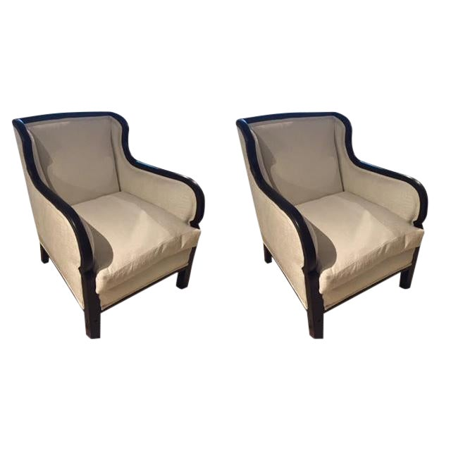 Vintage French Black Frames Club Chairs- A Pair For Sale