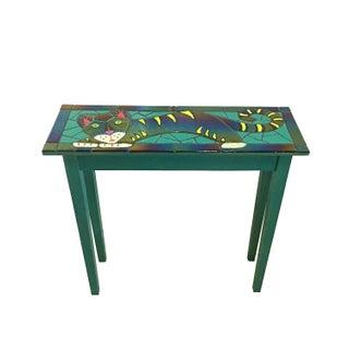 Handmade Vintage Art Glass Tile Cat Table For Sale
