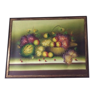 American Still Life With Fruit Bowl Oil Painting For Sale