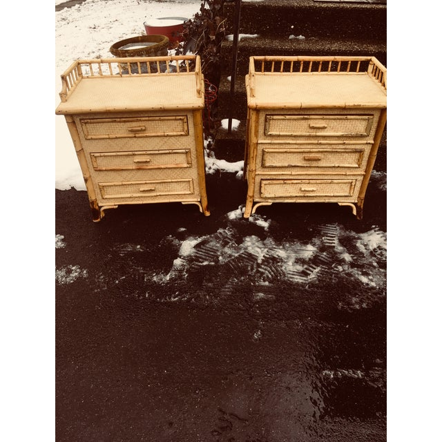 1970s 1970s Boho Chic Rattan Calif Asia and Cartel Nightstands - a Pair For Sale - Image 5 of 10