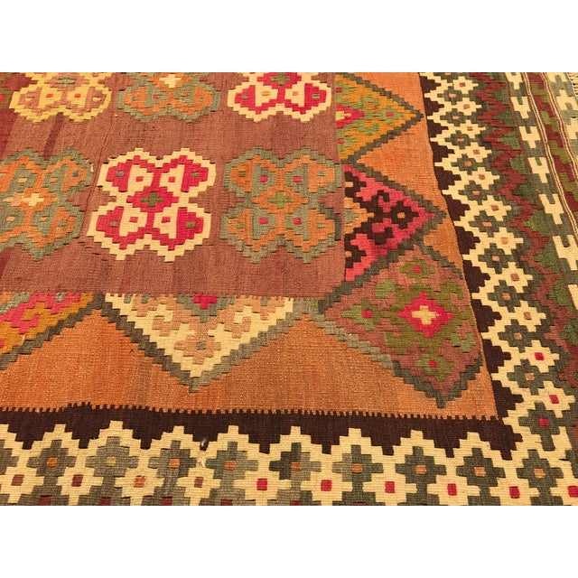 Mid 20th Century Persian, Qashqai Hand-Woven Kilim, From Iran For Sale - Image 5 of 6