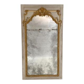 White & Gilt Belle Epoque Trumeau Mirror, France Circa 1910 For Sale