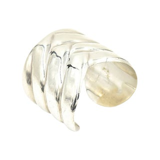 Modernist Sterling Geometric Cuff For Sale