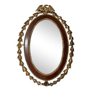 19th Century Antique Mahogany Gilt Federal Eagle Mirror For Sale