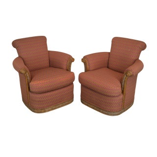 Jeffco Pair Custom Upholstered Club Chairs (B) For Sale