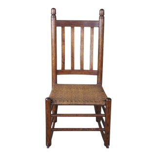 Antique Arts & Crafts Oak & Rattan Rocking Chair For Sale