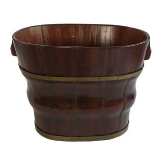 Tall Wooden Bowl With Metal Bands