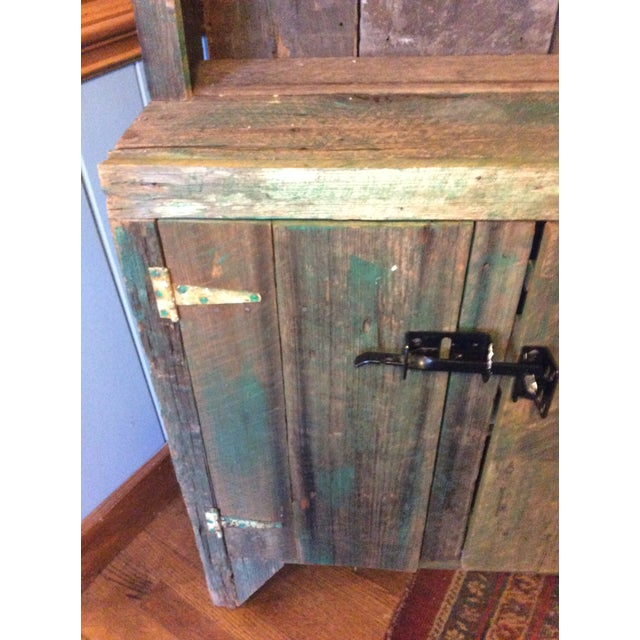 Primitive Wood Green Hutch For Sale - Image 11 of 13