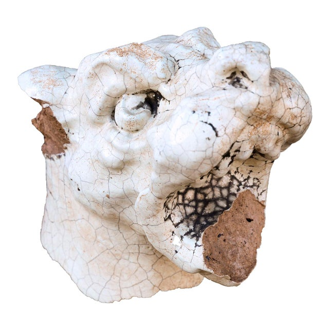 Edwardian Late 19th Century Glazed Terracotta 'Dog Head' Architectural Fragment For Sale - Image 3 of 6