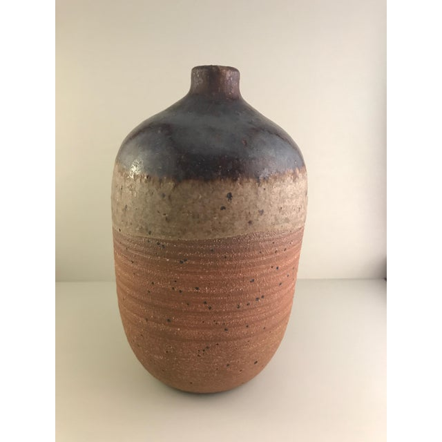 Beautiful mid century pottery vase! Matte & glossy glazes Brown, beige and dark brown. This piece is somewhat heavy for...