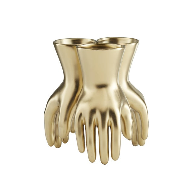 Gold Arteriors Hands Vase For Sale - Image 8 of 13