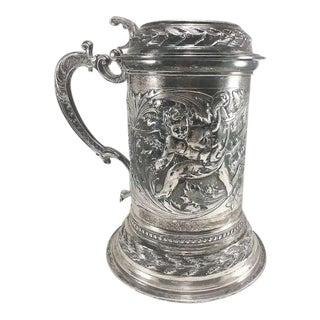 Italian 800 Silver Cherub Embossed Lidded Stein/Tankard 1080 Grams For Sale