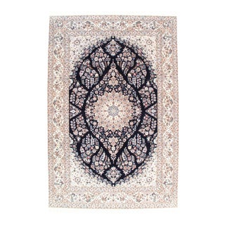 Pasargad N Y Persian Nain 6-Lines Hand-Knotted Lamb's Wool & Silk Rug - 8' X 12' For Sale