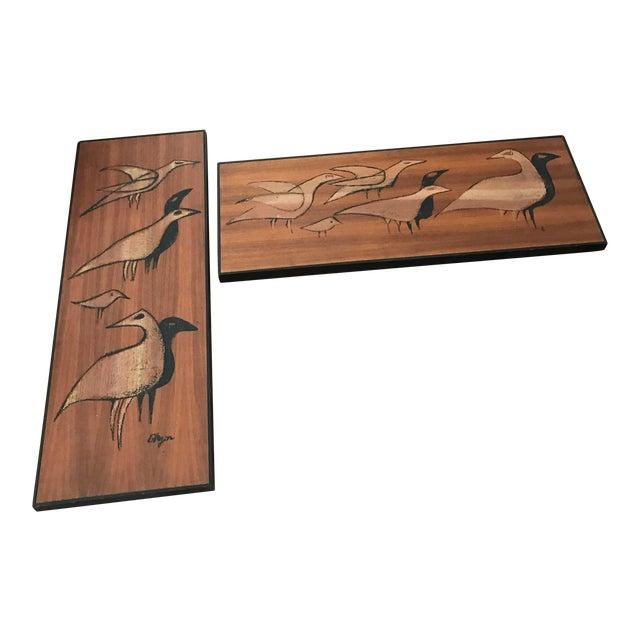 Mid-Century Signed Shadow Box Artwork Set of 3 - Image 1 of 7