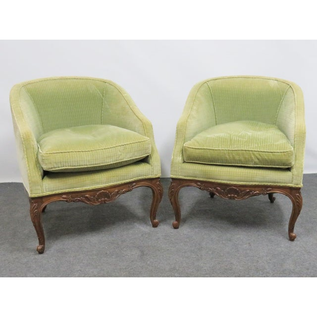 Louis XV Fruitwood Carved Club Chairs - a Pair For Sale In Philadelphia - Image 6 of 6