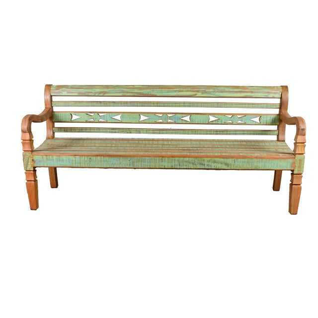 Reclaimed Wood Bench For Sale - Image 4 of 4