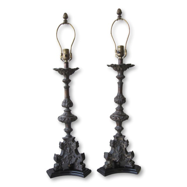 Antique Cast Metal Lamps With Fortuny Shades - A Pair - Image 3 of 11