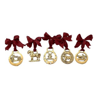 19th-C. English Horse Brass Farm Ornaments, Set of 5 For Sale