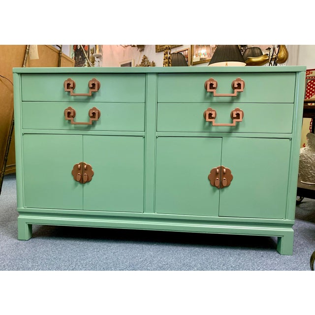 """Gorgeous Chinese Chippendale sideboard freshly painted in Benjamin Moore's """"Lehigh Green"""". The pulls and handles are a..."""