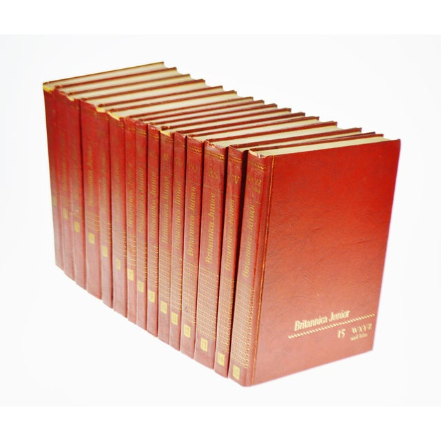 1960 Encyclopedia Britannica Junior Leather Bound Books - Set of 15 For Sale - Image 5 of 11