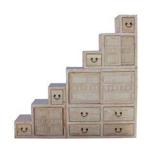 Chinese White Wash Wood Grain Finish Modern Tansu Step Cabinet