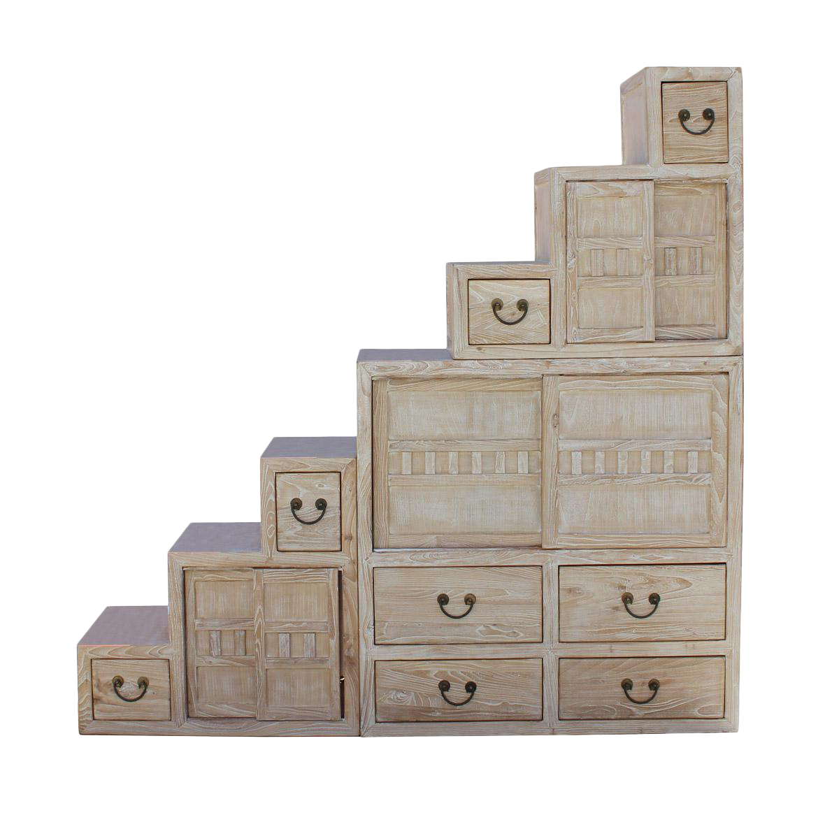 Exceptionnel Chinese White Wash Wood Grain Finish Modern Tansu Step Cabinet