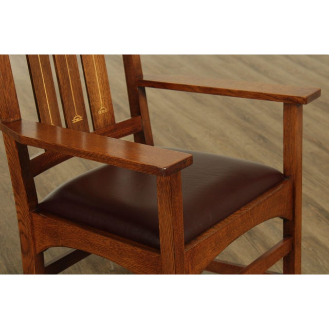 Brown Stickley Mission Collection Harvey Ellis Rocker with Inlay For Sale - Image 8 of 13