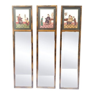 Vintage Chinoiserie Faux Bamboo Chinese Emperor Mirror Panels - Set of 3 For Sale