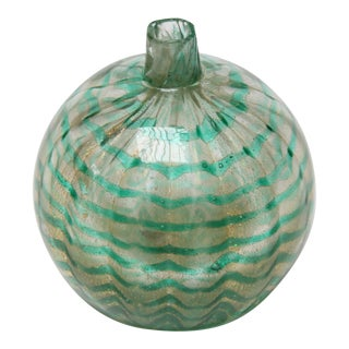 Murano Green and Gold 'Ornament' Bud Vase For Sale