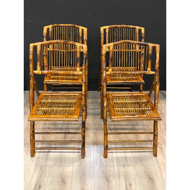 Brown Stunning Set of 4 Vintage Mid Century Modern Tortoise Bamboo Folding Chairs For Sale - Image 8 of 8