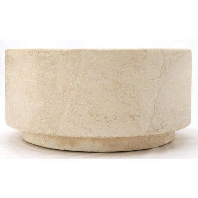 John Dickinson Round Cylinder Coffee Center Table Textured Pearl Faux Skin Finish For Sale - Image 4 of 10