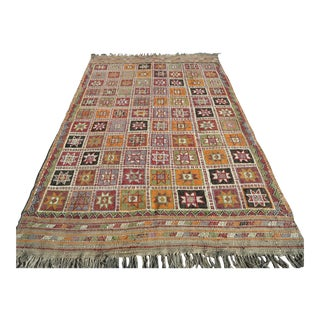 "Vintage Turkish Kilim Rug-5'5'x8'8"" For Sale"