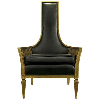 Antique Gilt Finish & Black Naugahyde Moorish Style Lounge Chair For Sale