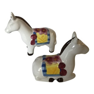 20th Century Folk Art Horse Salt and Pepper Set - 2 Pieces For Sale