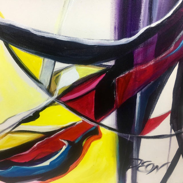 Abstract Deon Robertson Abstract Jazz Swing Oil on Canvas For Sale - Image 3 of 4