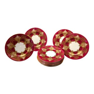 Royal Worcester Raspberry Red, Pink and Gold Plates - Set of 12 For Sale