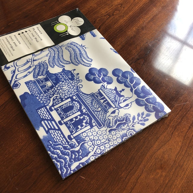 Asian Blue Chinoiserie Paper Place Mats - Set of 50 For Sale - Image 3 of 6