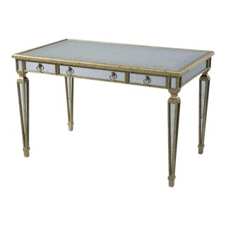 Modern Silver Leaf and Mirrored Desk For Sale