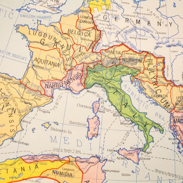 Yellow Industrial Pull Down Map of Rome Italy and the Roman Empire For Sale - Image 8 of 9