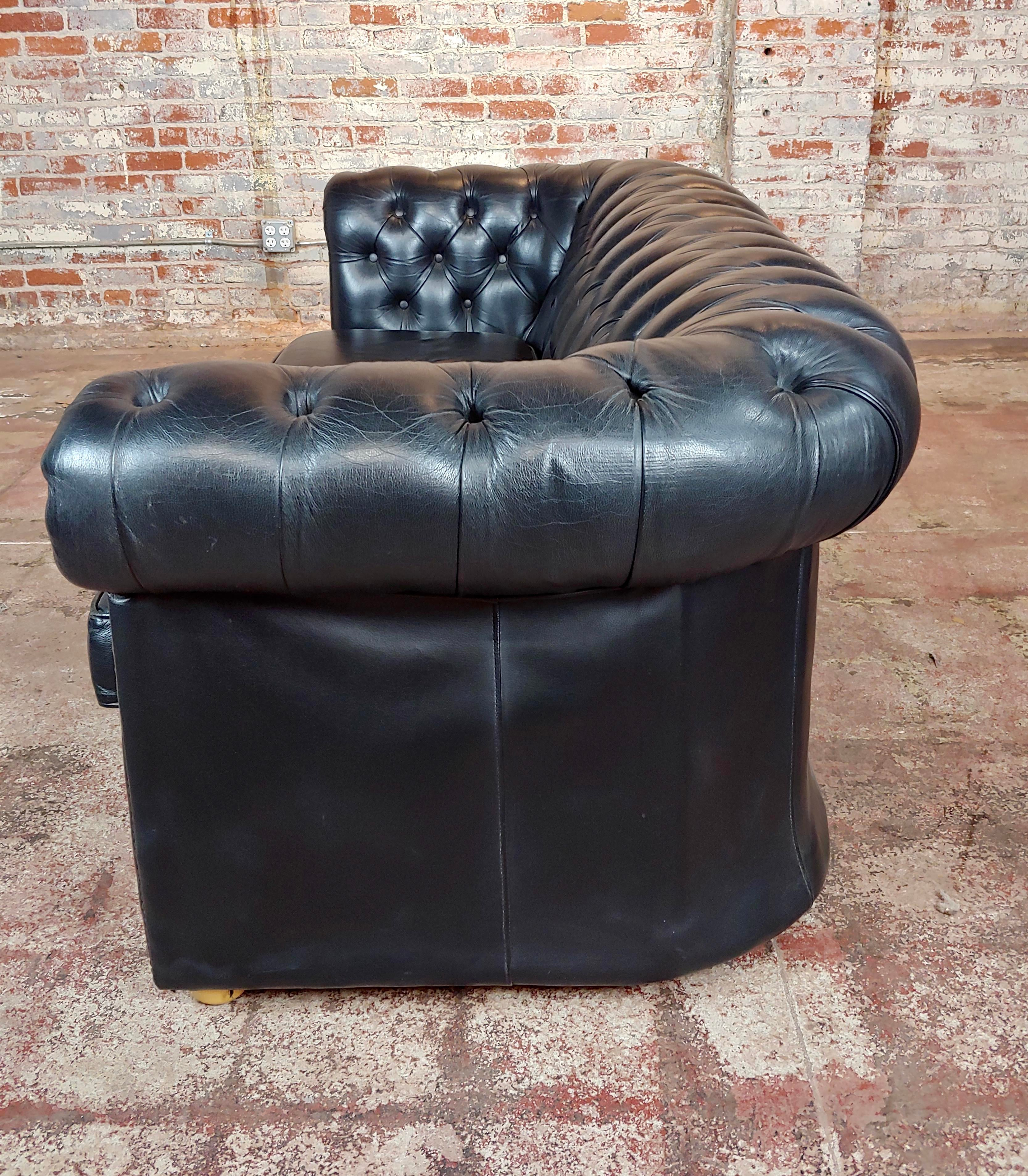 Chesterfield Vintage Black Leather Sofa