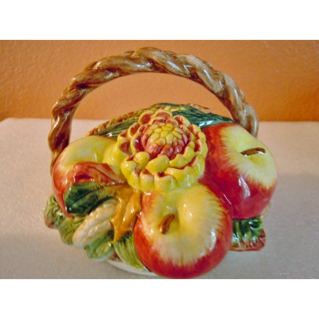 Rustic Fitz & Floyd Vegetable Fruit Basket Canisters - A Pair For Sale - Image 3 of 8